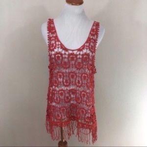 Anthro Hazel Crochet Fringe Boho Tank Medium